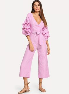 To find out about the Drop Shoulder Gathered Sleeve Surplice Wrap Pinstripe Jumpsuit at SHEIN, part of our latest Jumpsuits ready to shop online today! Bridal Jumpsuit, Jumpsuit Dress, Playsuit, Pink Fashion, Cute Fashion, Plazzo Pants, Jeans With Heels, Jumpsuit Pattern, Sweaters And Jeans