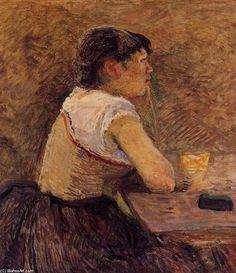 """Gennelleで、アブサンを飲みます"", オイル バイ Henri De Toulouse-Lautrec (1864-1901, France)"