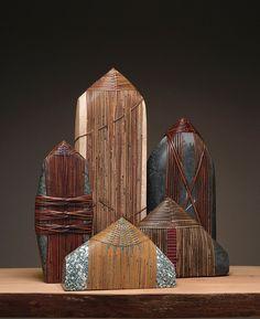 Deloss Webber is a Seattle artist specializing in mixed-media art usin Stone Crafts, Rock Crafts, Beach Rock Art, Zen Rock, Stone World, Rock And Pebbles, Stone Wrapping, Land Art, Pebble Art