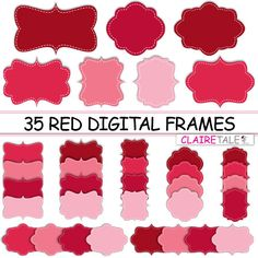 Digital clipart labels: RED DIGITAL FRAMES clipart by ClaireTALE