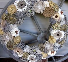 Fabric flowers wreath  Earth tone wreath  by lisesimplecreations, $59.00