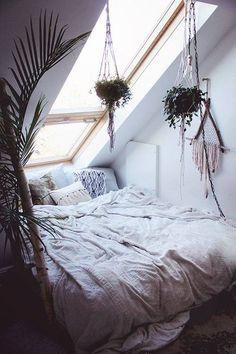 Image via We Heart It #boho #cozy #plants #whitebed #window