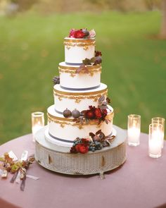 With its clean, crisp air and warm, fiery color scheme, autumn is a lovely time to get married. And with an abundance of cool-weather motifs and seasonal flavors, fall wedding cakes can be both beautiful and tasty. Are you a chocoholic? Obsessed with all things pumpkin spice? You've come to the right place. Here, you'll find the best fall wedding cakes from real weddings, including a three-tier almond cake with fresh pears and caramel buttercream and one amazing black walnut cake with…
