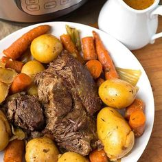 Delicious, comforting, and easy. Instant Pot Simple Pot Roast is the most tender and flavorful pot roast, cooked in your electric pressure cooker. simplyhappyfoodie.com #potroast #instantpotrecipes #instantpotpotroast #easypotroast