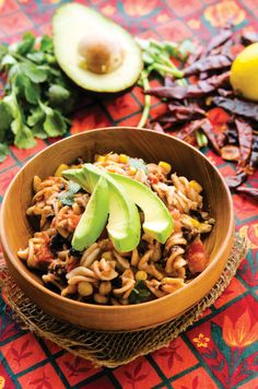Chipotle Pasta - Don't be put off by the long list of ingredients; this recipe comes together quickly and is relatively effortless. Just stir, heat, dump—go! It's the sassy sister to mac 'n' cheese, with healthy additions like beans, corn, and tomato slipped in.  From Happy Herbivore Light & Lean