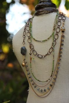 Copper, green crystal beads, labradorite and pyrite. Two necklaces which may be worn long or short. Kathy Gaiser Jewels www.facebook.com/kathygaiserjewels