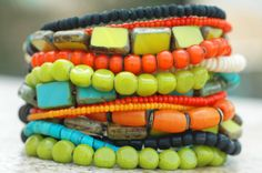 Caribbean Cuff: Exotic Island Inspired Turquoise, Lime, Orange & Black Cuff Bracelet $225