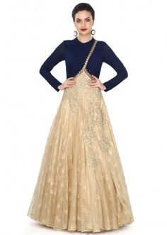 <p>‌Gold and navy blue gown adorn in pleats and sequin work only on Kalki</p>