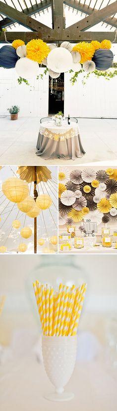Decoración de bodas y fiestas en amarillo