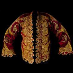 Ottoman Empire jacket, 19th Century.  Red velvet richly embroidered with gilded palm branches. CRAZY-devi