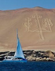 Paracas, Peru ~ the Candelabra of the Andes, a well-known prehistoric geoglyph.