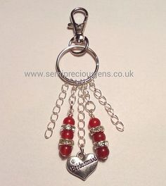 DRQ-CS-BBC Bag Charm/Keyring Bridesmaid Deep Red Quartzite, Silver Coloured Crystal Spacers with Tibetan Silver Bridesmaid Charm on Silver Plated Chains  £6.80 plus p&p www.semipreciousjens.co.uk