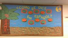 I created this interactive bulletin board for my Spanish class! Students can lift the tag and see what it says under. Great for vocabulary reinforcement!
