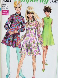 1960s  CUTE MOD DRESS PATTERN MINI or REGULAR LENGTH TRUMPET FLAREDSKIRt, FITTED BODICE, BIAS ROLL COLLAR SIMPLICITY PATTERNS 7527