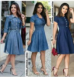Best 12 On our website you will find Looks Jeans Passionate ❤❤ Look 1 👉 . Modest Outfits, Modest Fashion, Stylish Outfits, Dress Outfits, Fashion Dresses, Demin Dress, Denim Skirt Outfits, Blue Dress Casual, Casual Dresses