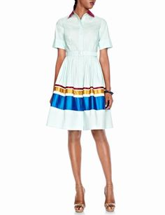 """Sophie Theallet Shirt Dress from THELIMITED.com. Fitted bodice with satin collar, cuffed short sleeves, self buckle belt Concealed button front Full skirt with engineered satin stripes Back yoke and inverted back pleat Measures approximately 40 1/2"""" from shoulder to bottom hem $118"""