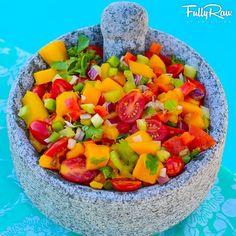Mango Salsa: mango, cherry tomatoes, rainbow bell peppers, scallions, red onions, cilantro, and avocado.