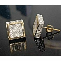 0.50Ct Round Cut Pave Set VVS1 Diamond Square Stud Earrings 14k Yellow Gold Over #jewelry_bling #Stud Cufflinks, Flaws, Stud Earrings, Yellow, Diamond, Detail, Gold, Gemstone, Fine Jewelry