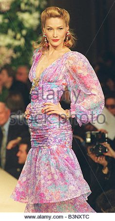 Model wearing Yves Saint Laurent dress as part of his 1996 Spring Summer haute couture collection January 1996 - Stock Photo