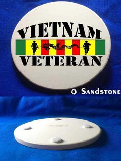This beautiful Vietnam Vet Soldiers & Dragon Sandstone Coaster is a must-have. Full color design custom baked into the stone for long lasting color; felt pads to prevent table scratching; strong, durable & absorbent for all types of drink ware.