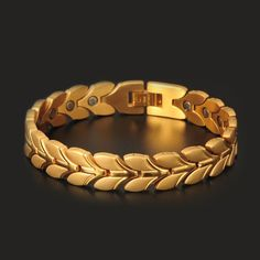 Gold Chain For Men Hottime Fashion Gold Plated Steel Bracelet Health Energy Magnetic Bracelets For Man Hand Link Chain Wristband 10107 Gold Bracelet Indian, Mens Gold Bracelets, Mens Gold Jewelry, Trendy Bracelets, Hand Jewelry, Gold Jewellery Design, Glass Jewelry, Gold Chains For Men, Fashion Jewelry