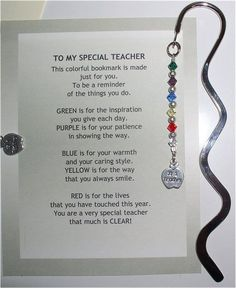 special teacher bookmark...oh em gee, i'm TOTALLY making this for teacher appreciation day/week!!! =)