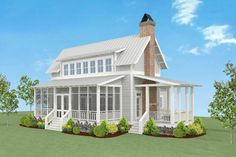 A wide open floor plan and a first floor master suite are big pluses in this charming Country Farmhouse house plan.There are porches on three sides of the home including a screened porch in front. Porch House Plans, Lake House Plans, Small House Plans, House Floor Plans, Country Farmhouse Decor, Farmhouse Plans, Modern Farmhouse, Modern Barn, Farmhouse Interior