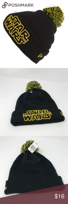 NEW Star Wars Black   Yellow Beanie A minimalist Star Wars logo is  embroidered on the cuff of a cozy knit beanie 13bb4d6df