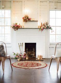 Fireplace Ceremony Backdrop with Modern Metallic Wedding Decor Wedding Fireplace, Wedding Shower Decorations, Decor Wedding, Rustic Wedding, Indoor Ceremony, Copper Wedding, Ceremony Backdrop, Garden Wedding, Dream Wedding