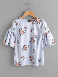 Flower Print Frill Sleeve Striped Blouse