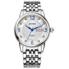 Jiusko Men's 118LS01 24-Jeweled Automatic Blue Hand Stainless Steel Silver Watch