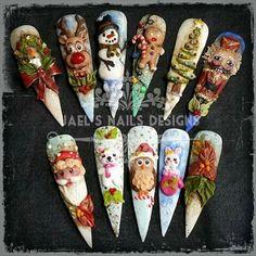 Navidad Nail Art Noel, Xmas Nails, Christmas Nail Art, Bling Nails, 3d Nails, Holiday Nails, Acrylic Nail Art, 3d Nail Art, Nail Arts