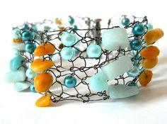 Bracelet Cuff Statement Jewelry Wire Hand Knit Unique by imwyred