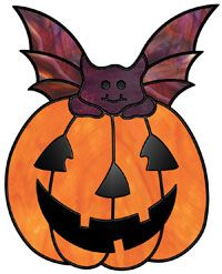 Jack Bat. The face for the pumpkin is created with overlay that is made by heavily coating shaped copper foil and gluing it to the glass where applica...
