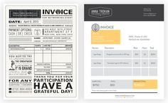 LEFT: Attractive, but the important information gets lost to auxiliary,  unnecessary textRIGHT: A clean, well-designed invoice that puts the...