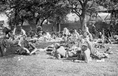The Retreat from Mons - Men of the 1st Cameronians halted at a farm - 24 August 1914