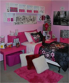 Don't really like the pink color scheme, but loving the hanging wall crates for storage!