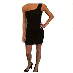 LBD! NWT Black Lace Draped Shoulder, side zipped night out dress! Jr size. This is a master listing.  If interested please leave a message here and I will create a separate listing for you. Thanks. Please no trades no PayPal. Dresses