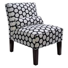 Foam-cushioned accent chair with dot-print upholstery and a pine wood frame. Handmade in the USA.  Product: ChairCon...