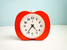 Vintage 80s Alarm Clock Red Orange Apple Working. €49,00, via Etsy.