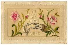 embroidered postcards ww1 - Google Search World War One, First World, Vintage Cards, Vintage Postcards, Women In France, Wolverhampton, Embroidered Silk, Christmas And New Year, Art Gallery