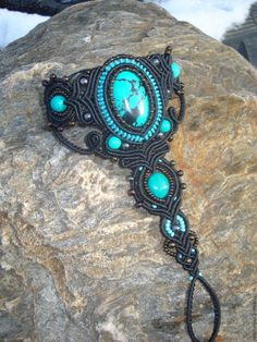 Купить Слейв браслет с бирюзой - черный, Макраме, макраме украшения, украшения…