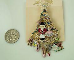 Kirks Folly Dreams of Nutcracker Christmas Tree Pin / Pendant - gold finish