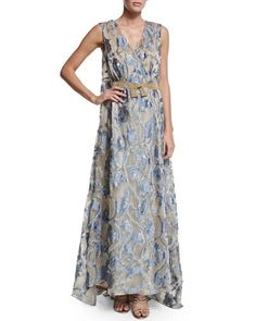 W0A7W Alberta Ferretti Sleeveless V-Neck Jacquard Organza Gown, Fantasy Print/Beige