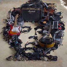 Damn! Jimi Hendrix portrait made of music gear --> http://www.afropunk.com/photo/jimi-hendrix-portrait-made-of-music-gear  Art by Christian Pierini Macêna