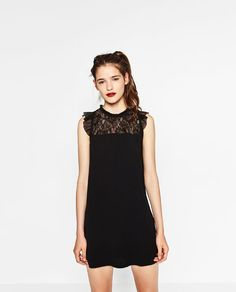 Image 1 of DRESS WITH A LACE BIB FRONT from Zara