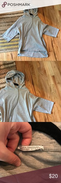 Zara Grey Hoodie Sz. Small Brand new and only worn once. Perfect condition. Size small comfy hoodie from Zara in a size small. Please ask any questions. Zara Sweaters