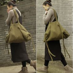 Womens Army Green Wool Knitted Single Shoulder Bags