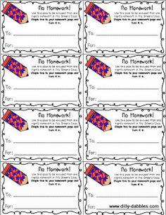 education world no homework pass template teacher templates