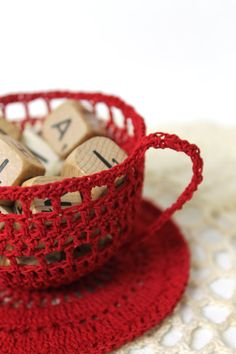 RED Crochet Tea Cup ... new item!